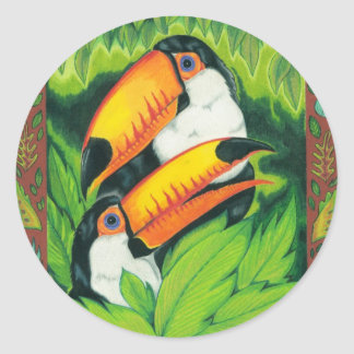 Redbubble art new 1 09 004toucans crop enhanced round sticker