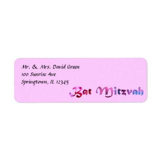 Redbud rose fleurit bat mitzvah étiquette d'adresse retour