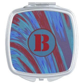RedcBlue Color Swish Monogram Makeup Mirrors