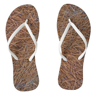 Reddish brown pine straw needles photo flip flops