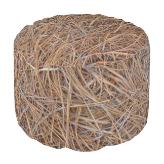 Reddish brown pine straw needles photo pouf