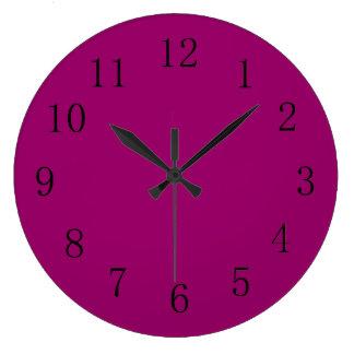 Reddish Eggplant Purple Solid Color Large Clock
