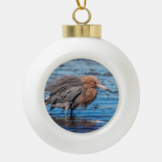 Reddish Egret on North Beach Ceramic Ball Christmas Ornament