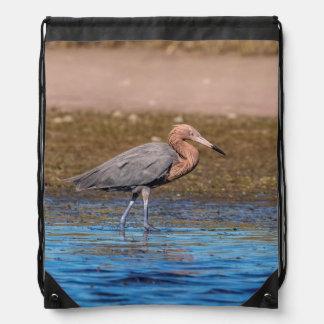 Reddish Egret on North Beach Drawstring Bag