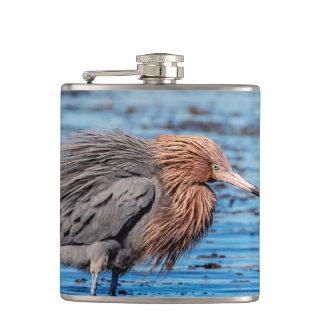 Reddish Egret on North Beach Hip Flask