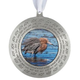 Reddish Egret on North Beach Pewter Ornament