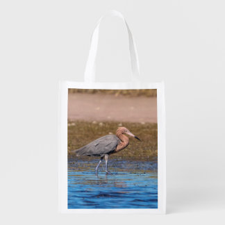 Reddish Egret on North Beach Reusable Grocery Bag