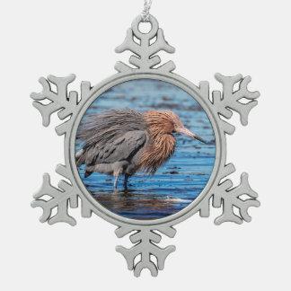 Reddish Egret on North Beach Snowflake Pewter Christmas Ornament