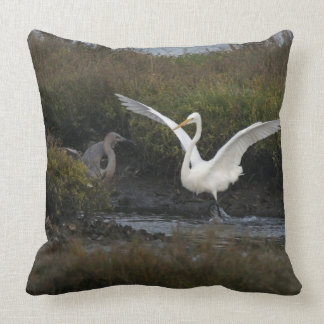 Reddish & Great Egret Heron Bird Wildlife Animals Throw Pillow