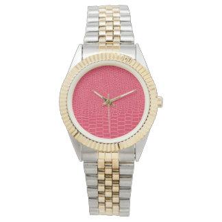 Reddish Pink Snakeskin, Two-Tone Bracelet Watch