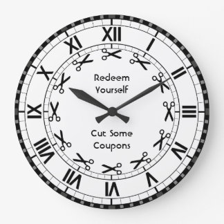 Redeem Yourself - Cut some Coupons Funny Scissors Large Clock