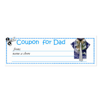 Redeemable Chore Coupon for Father's Day Pack Of Skinny Business Cards
