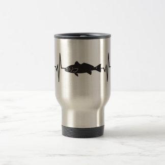 Redfish Fisherman - Heartbeat Pulse Graphic Travel Mug