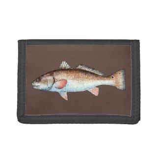 Redfish on Brown Tri-fold Wallet