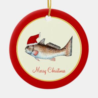 Redfish Santa Hat Christmas Red Ceramic Ornament
