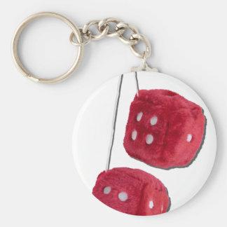 RedFuzzyDice073011 Keychain