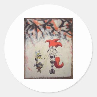 redhairedstripedw_freind1 round sticker