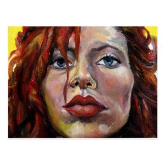 Redhead, a self portrait postcard
