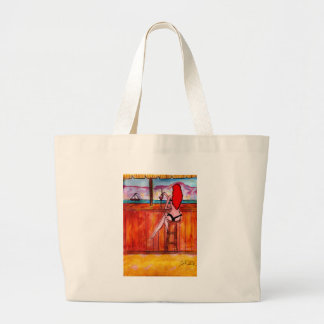 Redhead at Tiki Bar Large Tote Bag