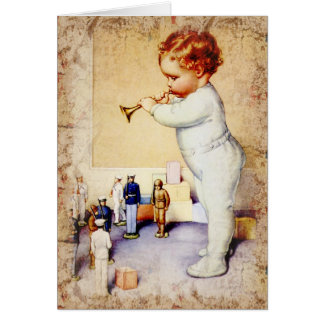 Redhead Baby Boy Blowing Horn to Soldiers Card