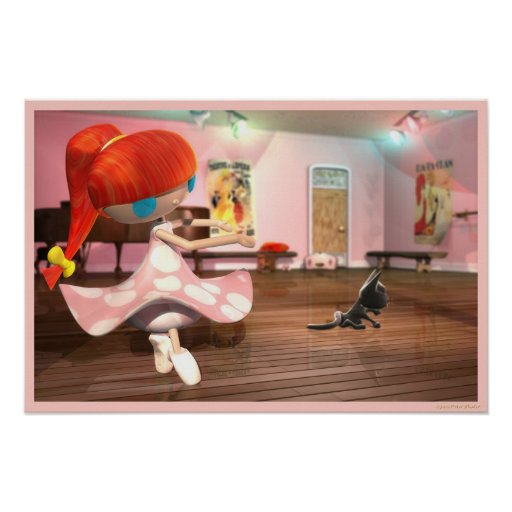Redhead girl ballet dancing. poster