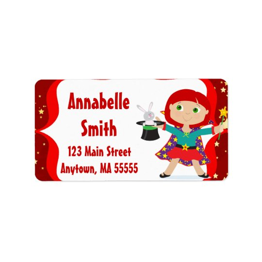RedHead Girl Magician Birthday Address Labels