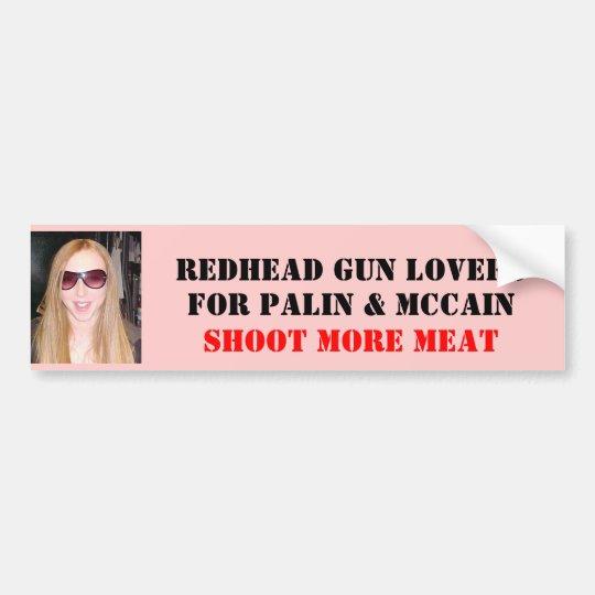 REDHEAD GUN LOVERS , FOR PALIN &... BUMPER STICKER