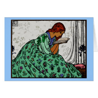 Redhead Lady In a Green Dress Reading Card