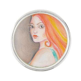Redhead Lady Lapel Pin