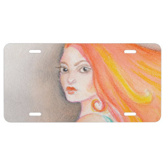 Redhead Lady License Plate