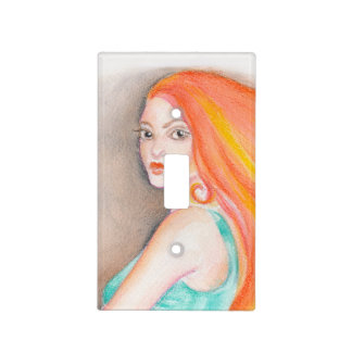 Redhead Lady Light Switch Cover