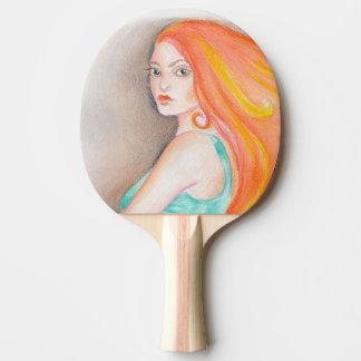 Redhead Lady Ping Pong Paddle