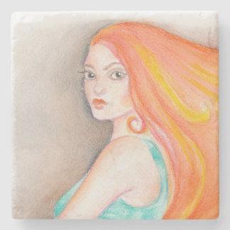 Redhead Lady Stone Coaster