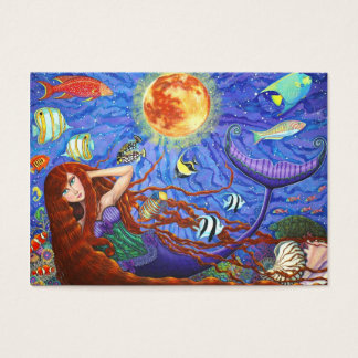 Redhead Mermaid in Corset with Moon and Fish Business Card