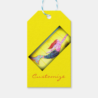 redhead mosaic mermaid pack of gift tags