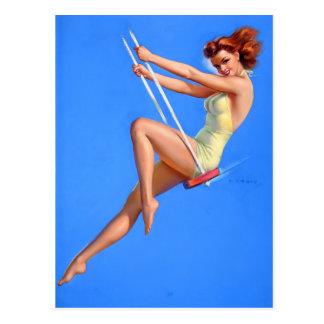 Redhead on Swing Pin Up Postcard
