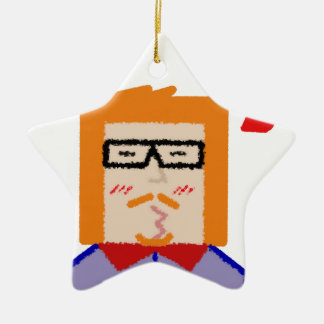 Redhead to hipster to lover funny cartoon ceramic star ornament