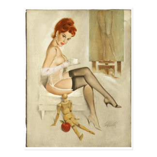 Redhead with Anna's Mannequin Pin Up Art Postcard