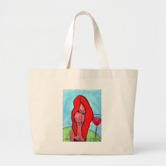 Redhead with Cherry Cocktail Large Tote Bag
