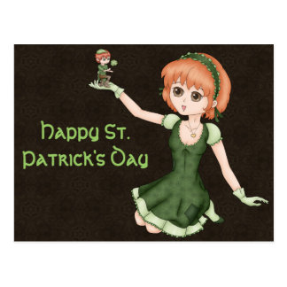 Redheaded Anime Girl And Leprechaun Postcard