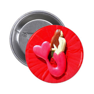 redheaded heart-tail mermaid 2 inch round button
