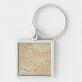 Redlands quadrangle showing San Andreas Rift Silver-Colored Square Keychain