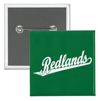 Redlands script logo in white pins
