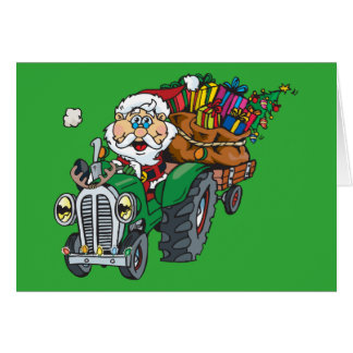 Redneck santa is coming to town on his tractor card