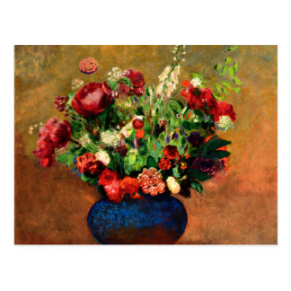 Redon - Poppies and Sweet William in a Blue Vase Postcard