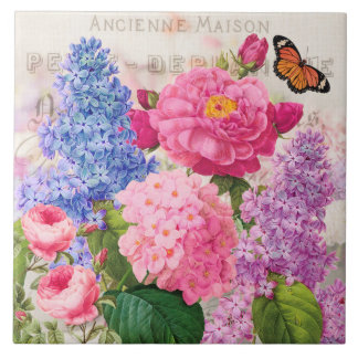 Redoute Flower Collage French Accent Ceramic Tile