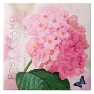Redoute French Pink Hydrangea Roses Ceramic Tile
