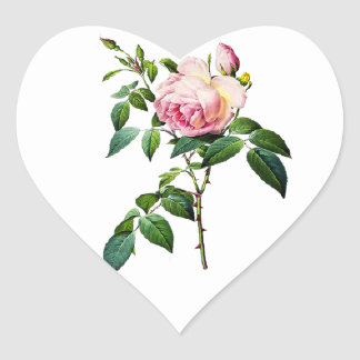 Redoute Pink Roses Heart Sticker