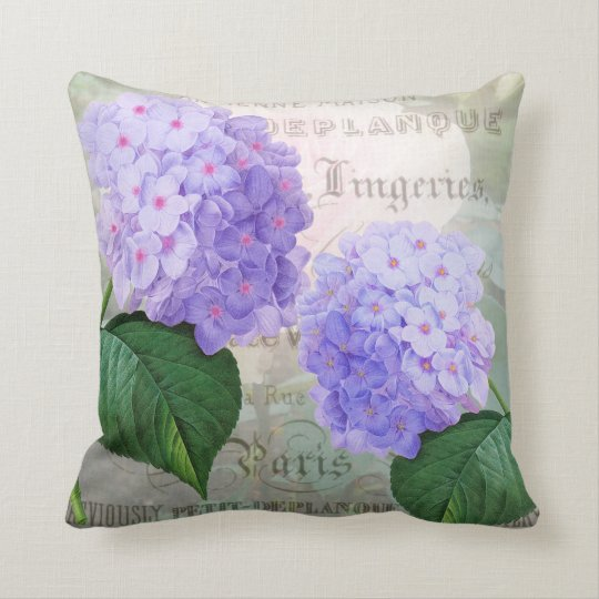 Redoute Purple Hydrangea Throw Pillow