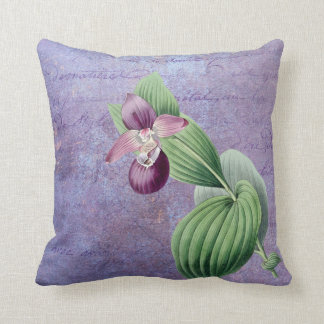 Redouté Purple Orchid On Vintage Overlay Throw Pillow